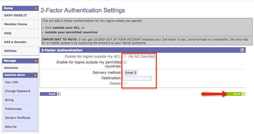how to customize your account security settings with easyDNS
