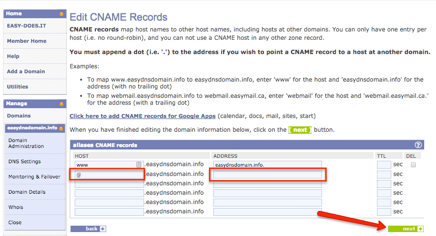 how to create ANAME with easyDNS