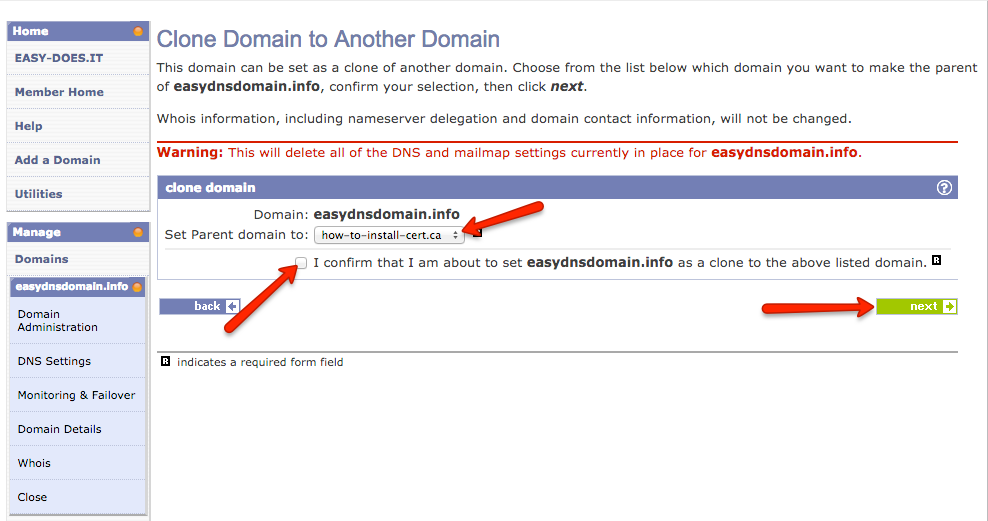 cloning domains with easyDNS