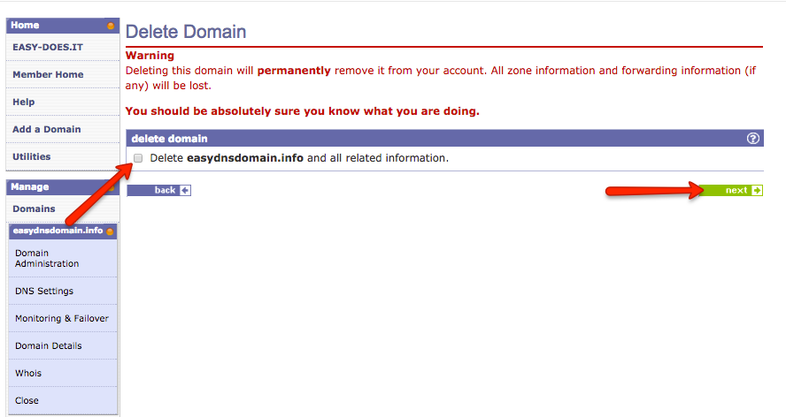 how to delete domain with easydns