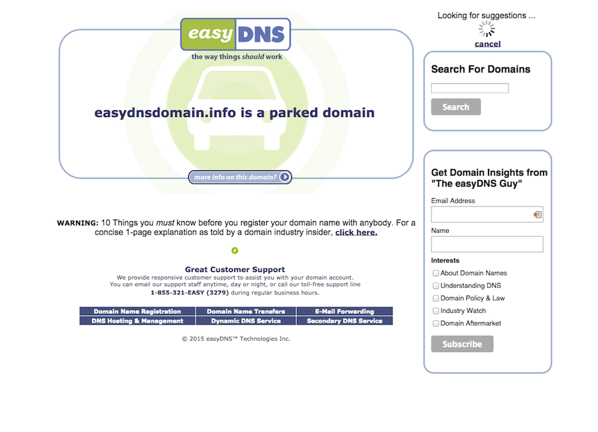 how to park your domain at easyDNS