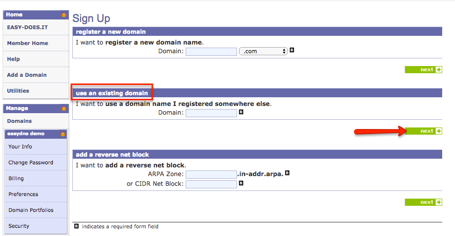 transferring registration to easyDNS