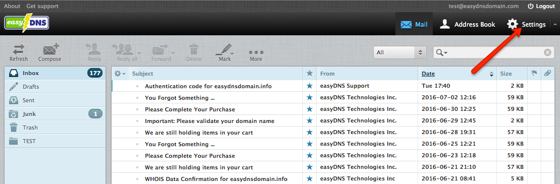 easyMail webmail filters with easyDNS