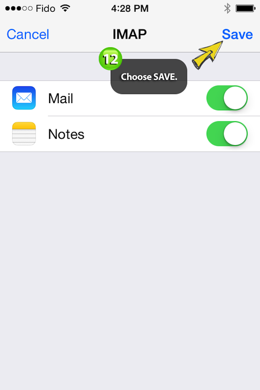 saving easymail settings on iphone