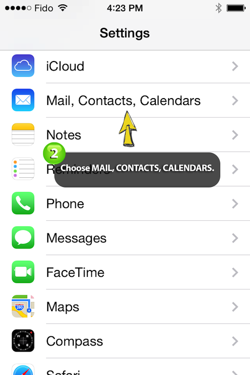 choose mail, contacts, calendar on your iphone