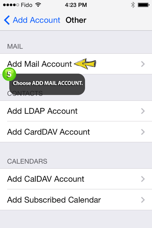 choosing add mail account in your iphone settings