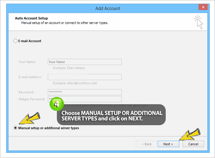 how to setup easyMail on outlook 2013