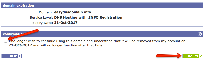 setting a domain to expire with easydns