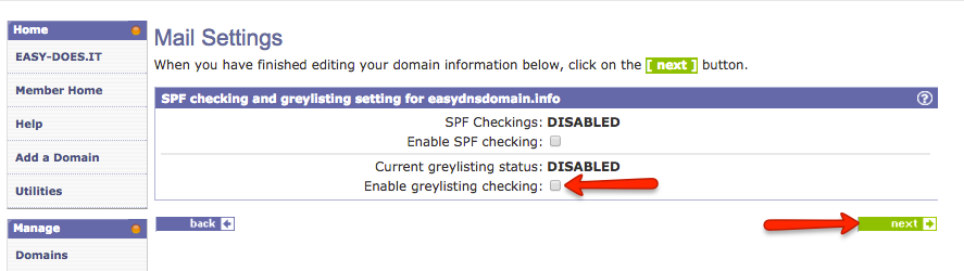 enabling greylisting with easyDNS