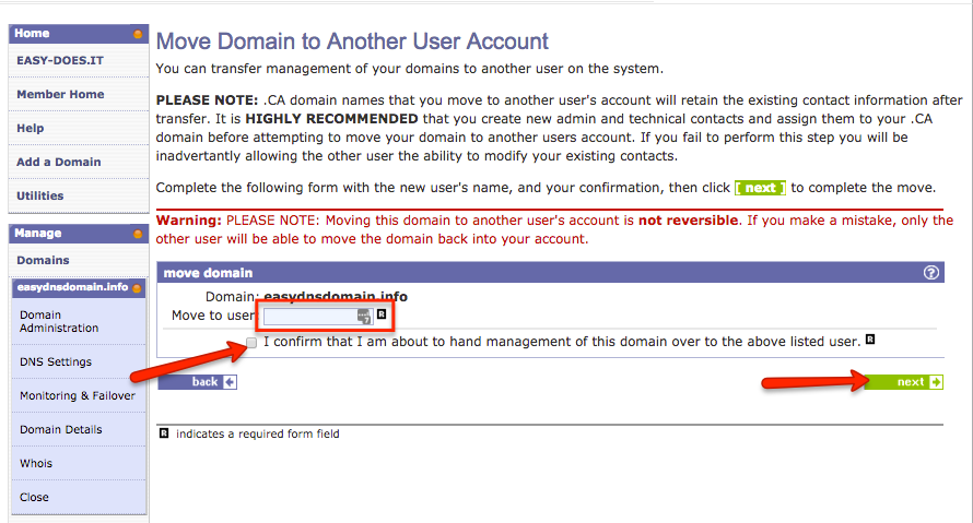 moving domains from one easydns account to another
