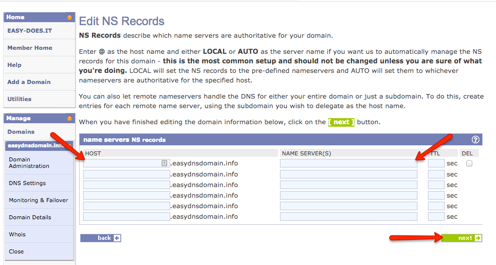 how to set ns records with easyDNS