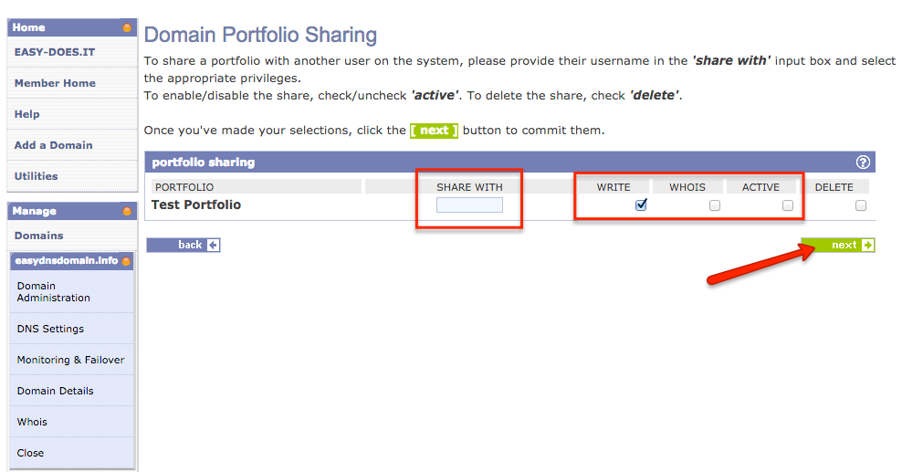 adding domain portfolios and sharing them with other easyDNS users