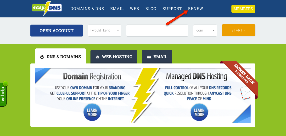 how to renew service with easydns