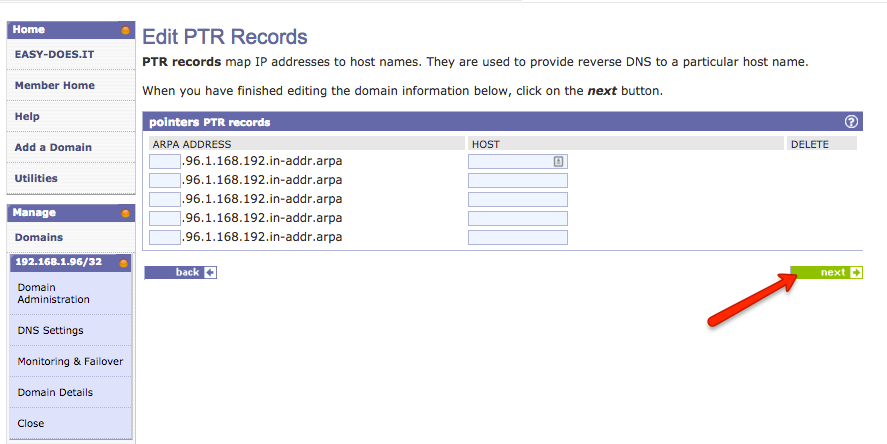 adding reverse dns to your easyDNS account