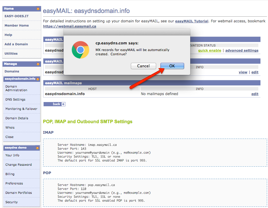 how to configure easyMail and create users