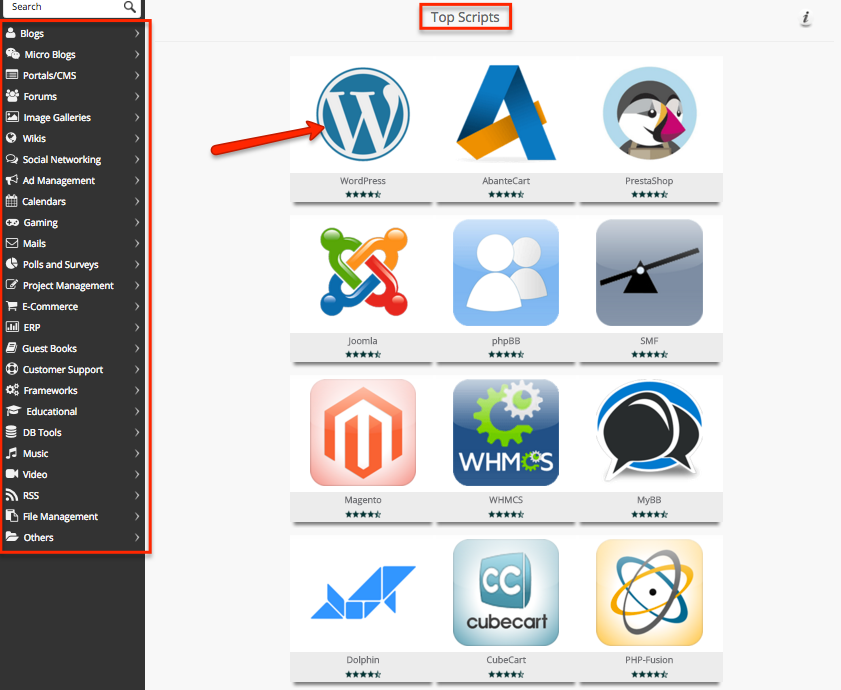 how to install softaculous scripts on easyweb