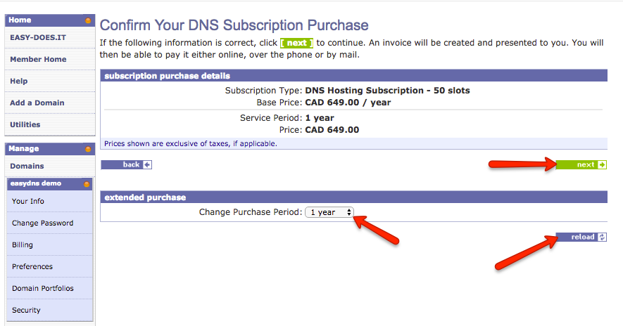 subscription blocks with easyDNS