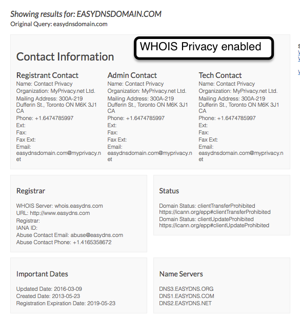 how to enable whois privacy for domain at easyDNS
