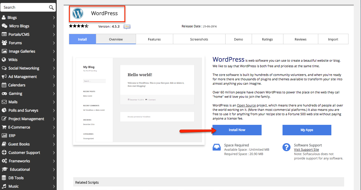 how to install WordPress on easyWeb.