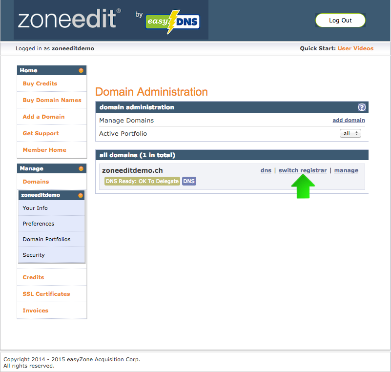 transferring .ch domains to ZoneEdit