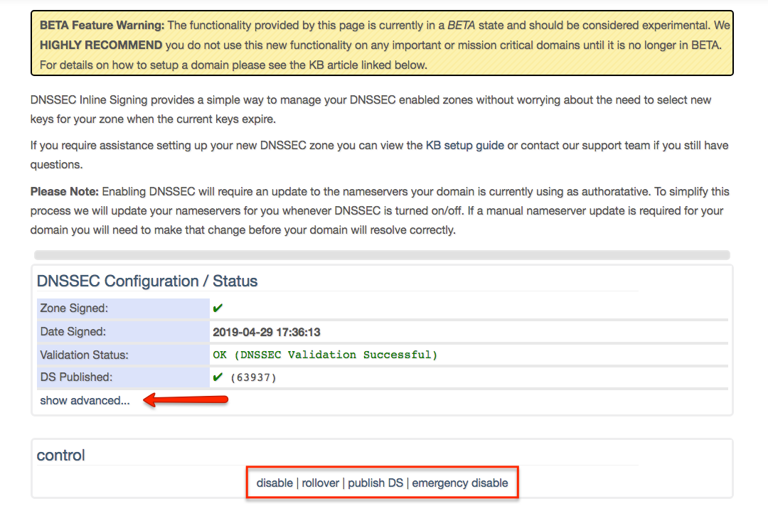how to enable dnssec zoneedit