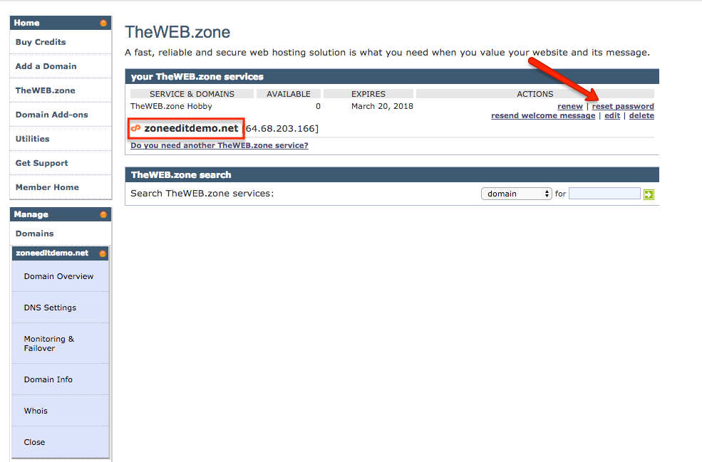 how to reset easyweb password in zoneedit.